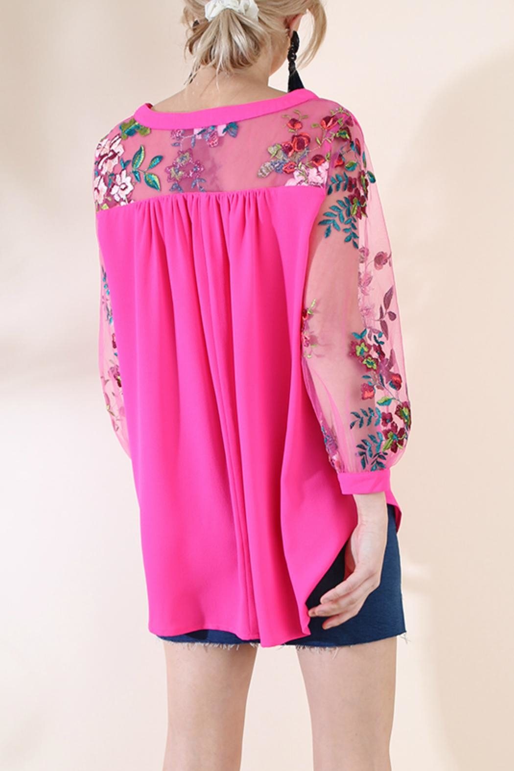 Umgee USA Embroidered Sleeve Top - Front Full Image