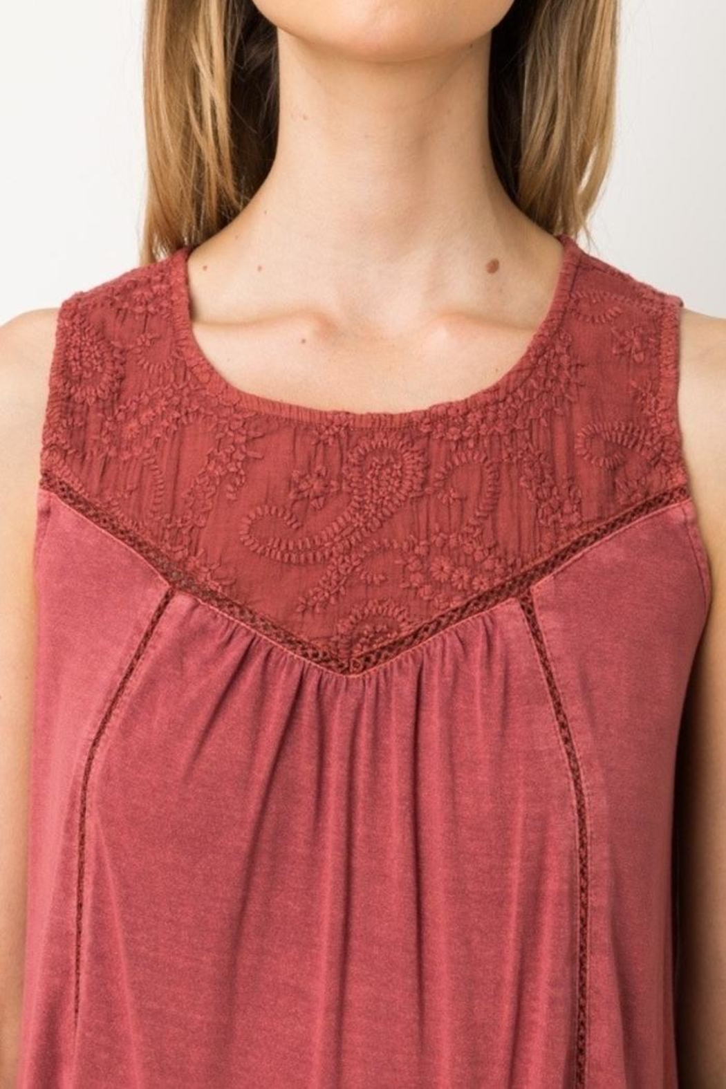 Mystree Embroidered Sleeveless Top - Back Cropped Image