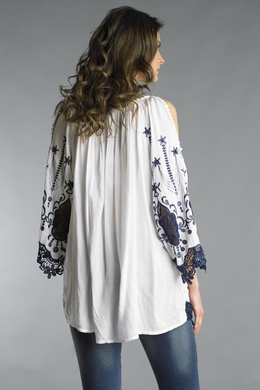 Tempo Paris Embroidered Slit Tunic - Front Full Image