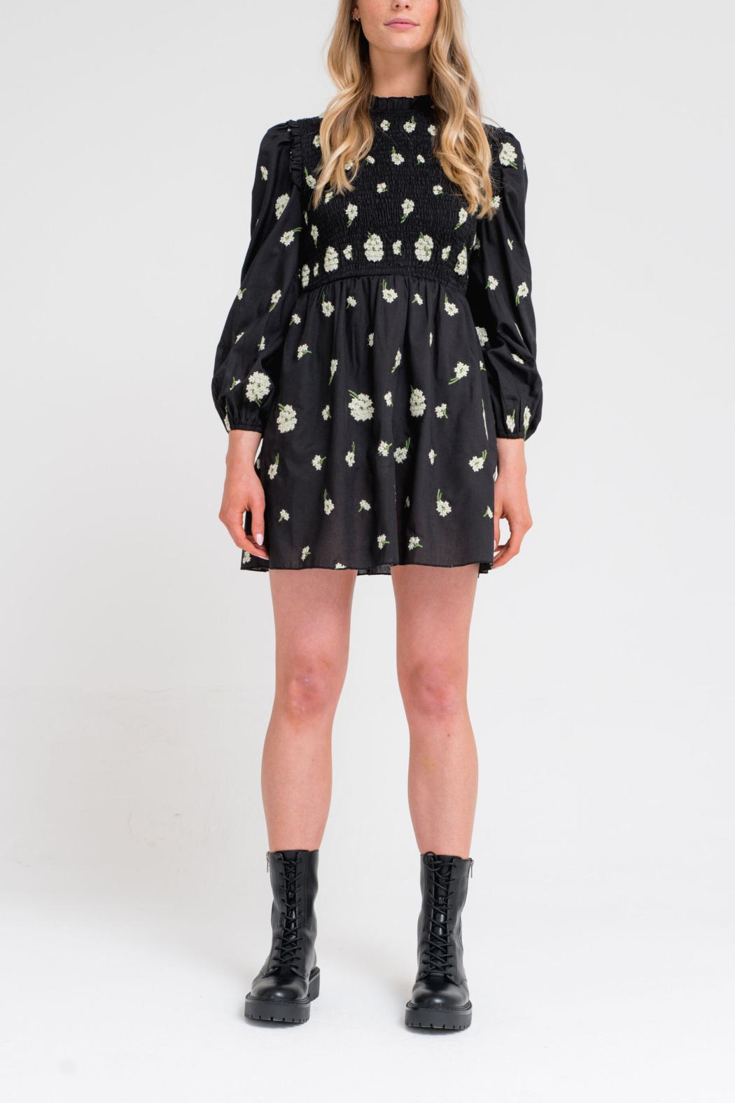 Another Girl Embroidered Smock Dress - Main Image