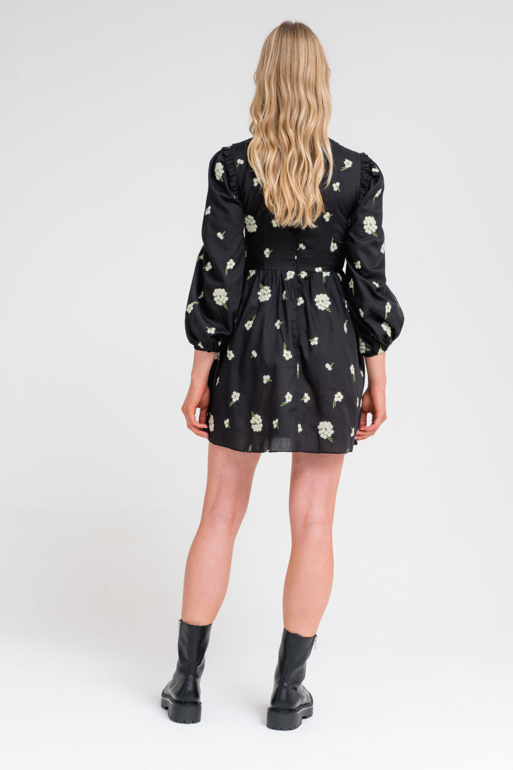 Another Girl Embroidered Smock Dress - Front Full Image