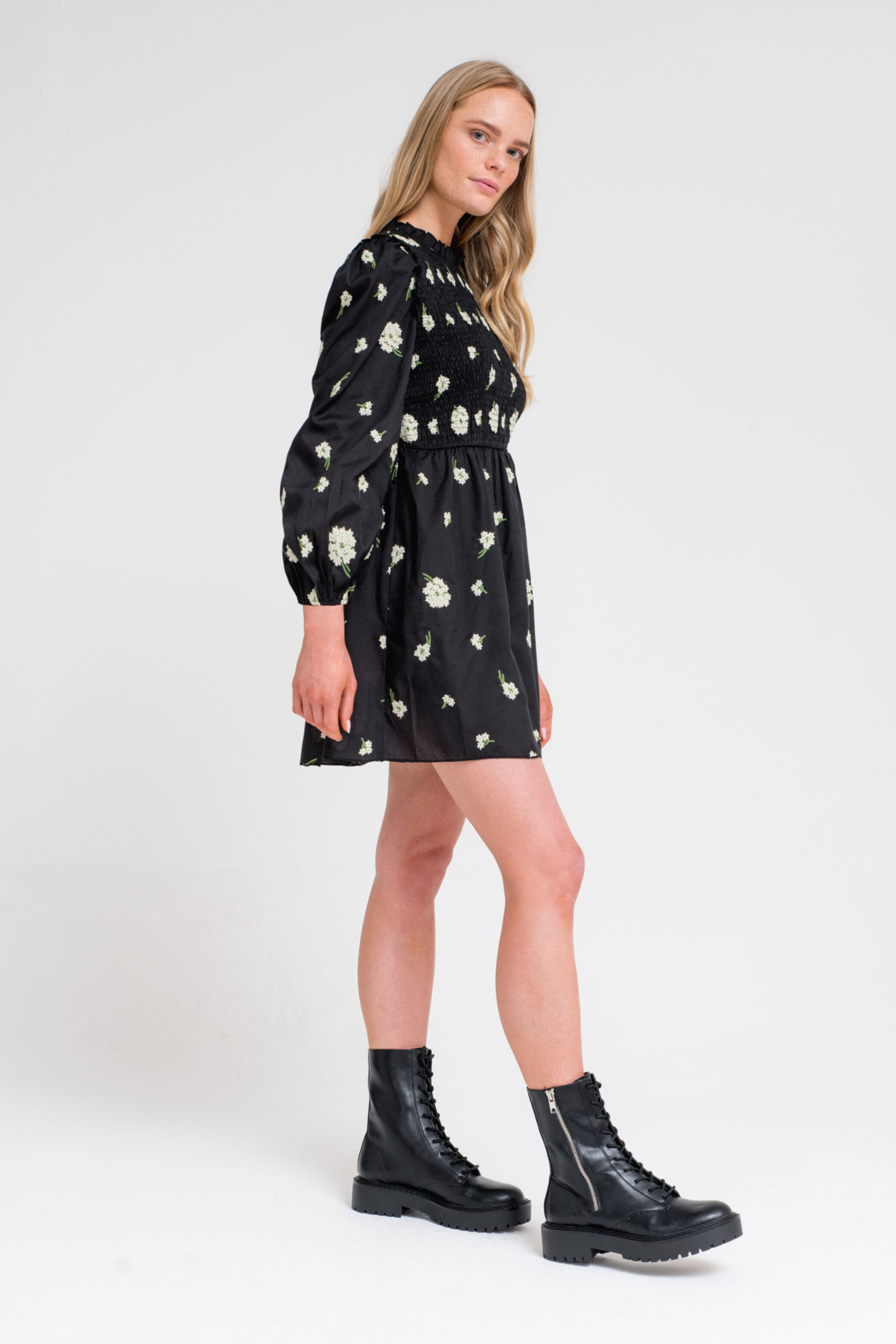 Another Girl Embroidered Smock Dress - Side Cropped Image