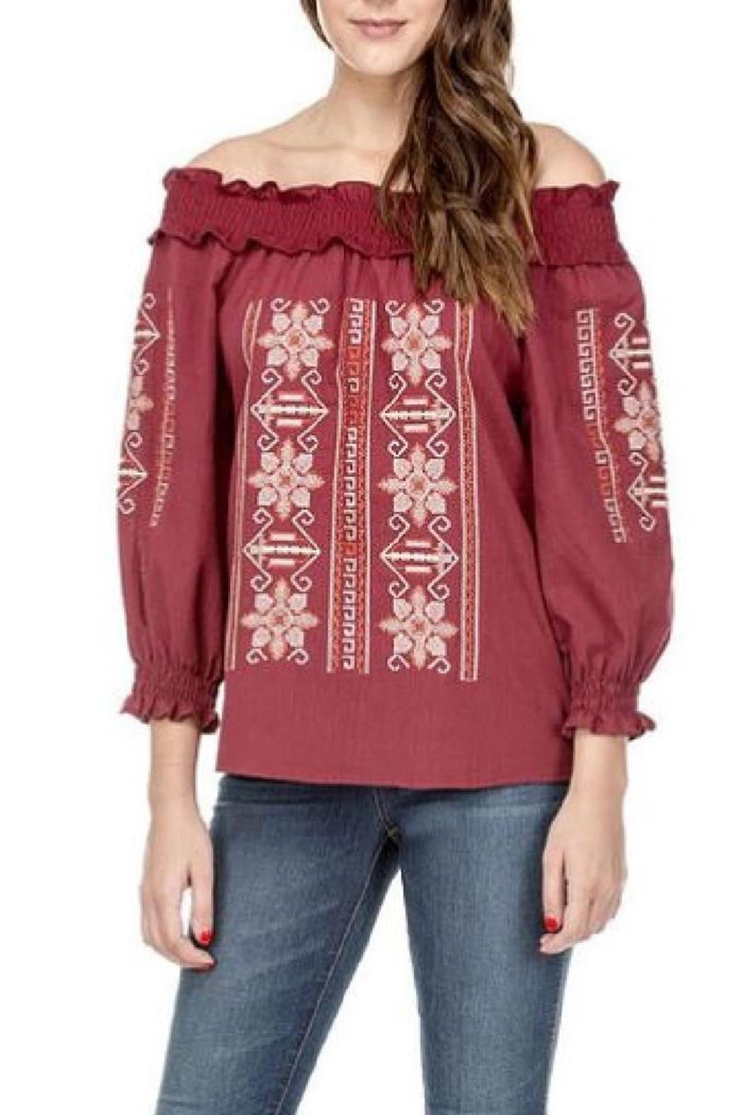 Joy Joy Embroidered Smock Top - Front Cropped Image