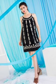 Shoptiques Product: Embroidered Spaghetti Strap Dress