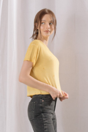 storia Embroidered Star Cropped Tee - Front full body