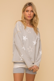 Hem and Thread Embroidered Star Pullover - Product Mini Image