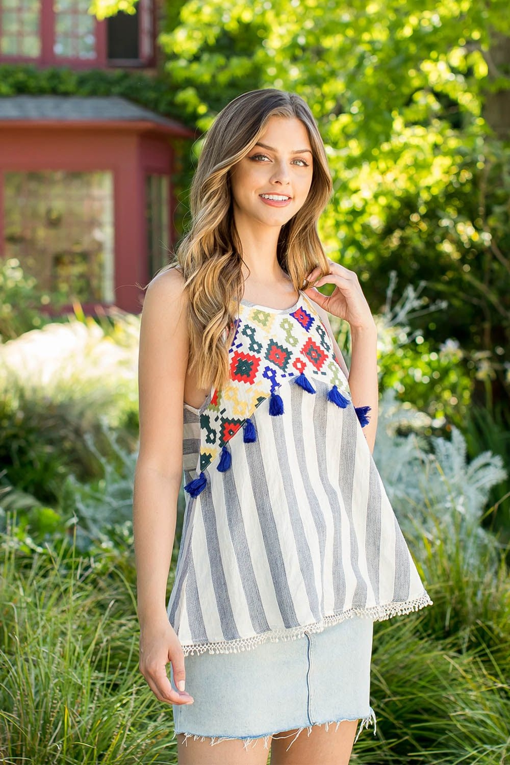 THML Clothing EMBROIDERED STRIPE TOP - Main Image