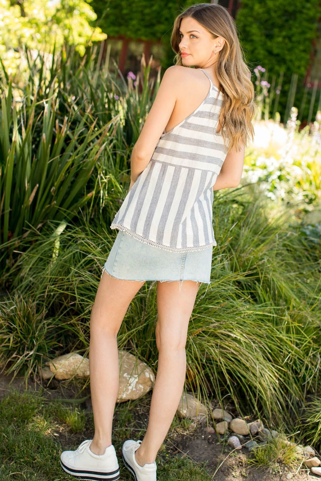 THML Clothing EMBROIDERED STRIPE TOP - Front Full Image