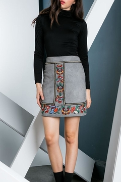 Shoptiques Product: Embroidered Suede Skirt