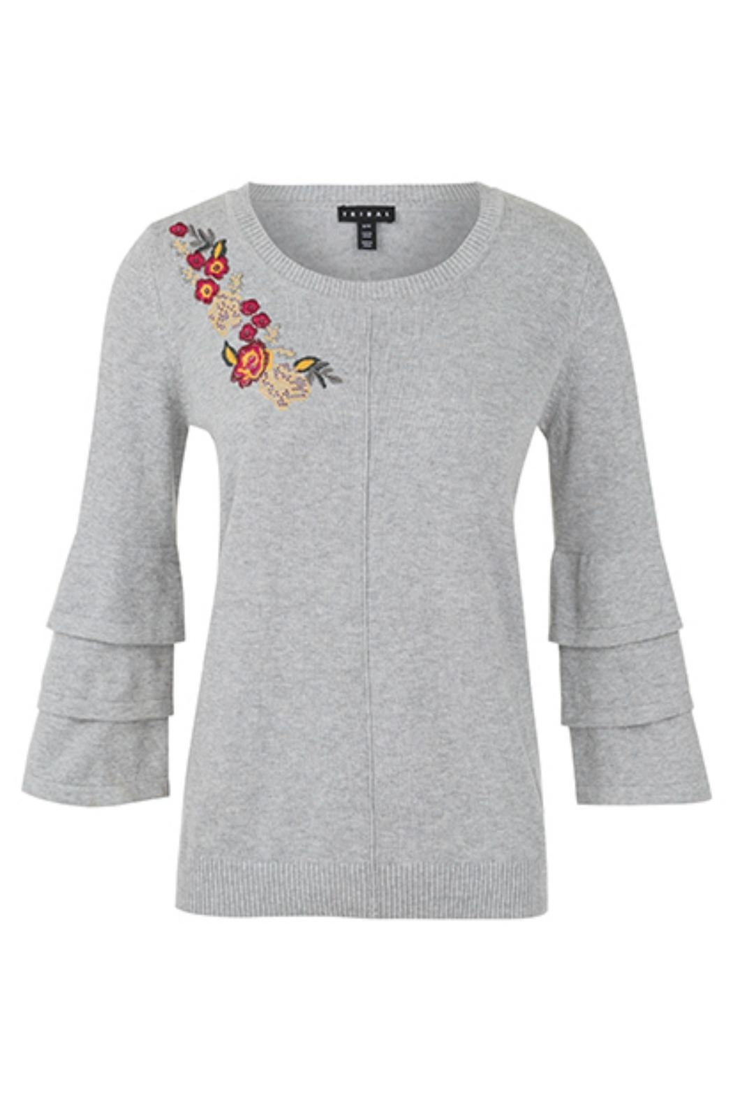 Tribal Embroidered Sweater 3/4-Sleeve - Main Image