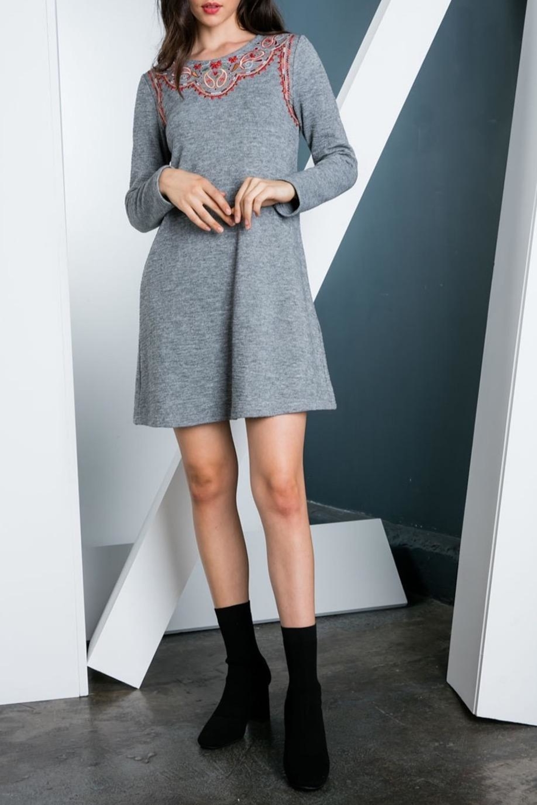 THML Clothing Embroidered Sweater Dress - Main Image