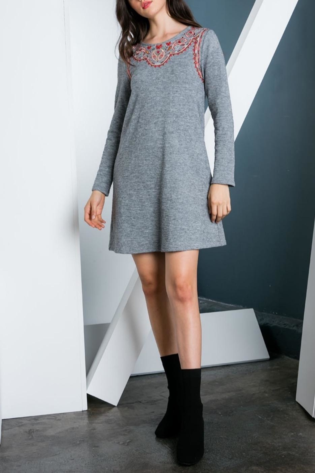 THML Clothing Embroidered Sweater Dress - Front Full Image