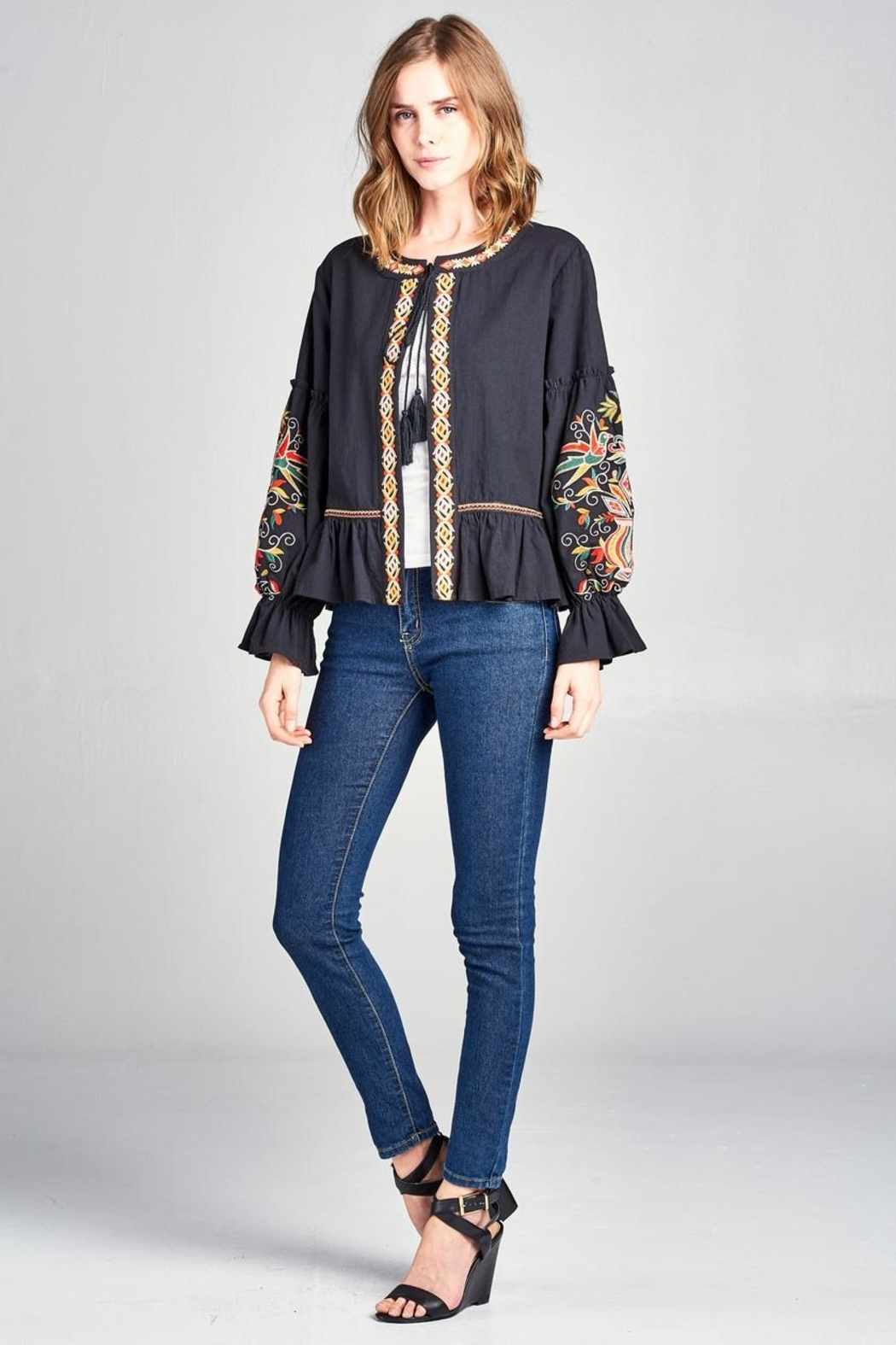 Velzera Embroidered Swing Jacket - Main Image
