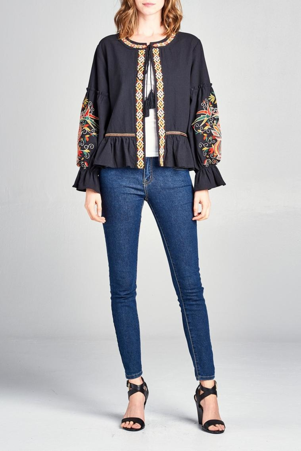 Velzera Embroidered Swing Jacket - Front Cropped Image