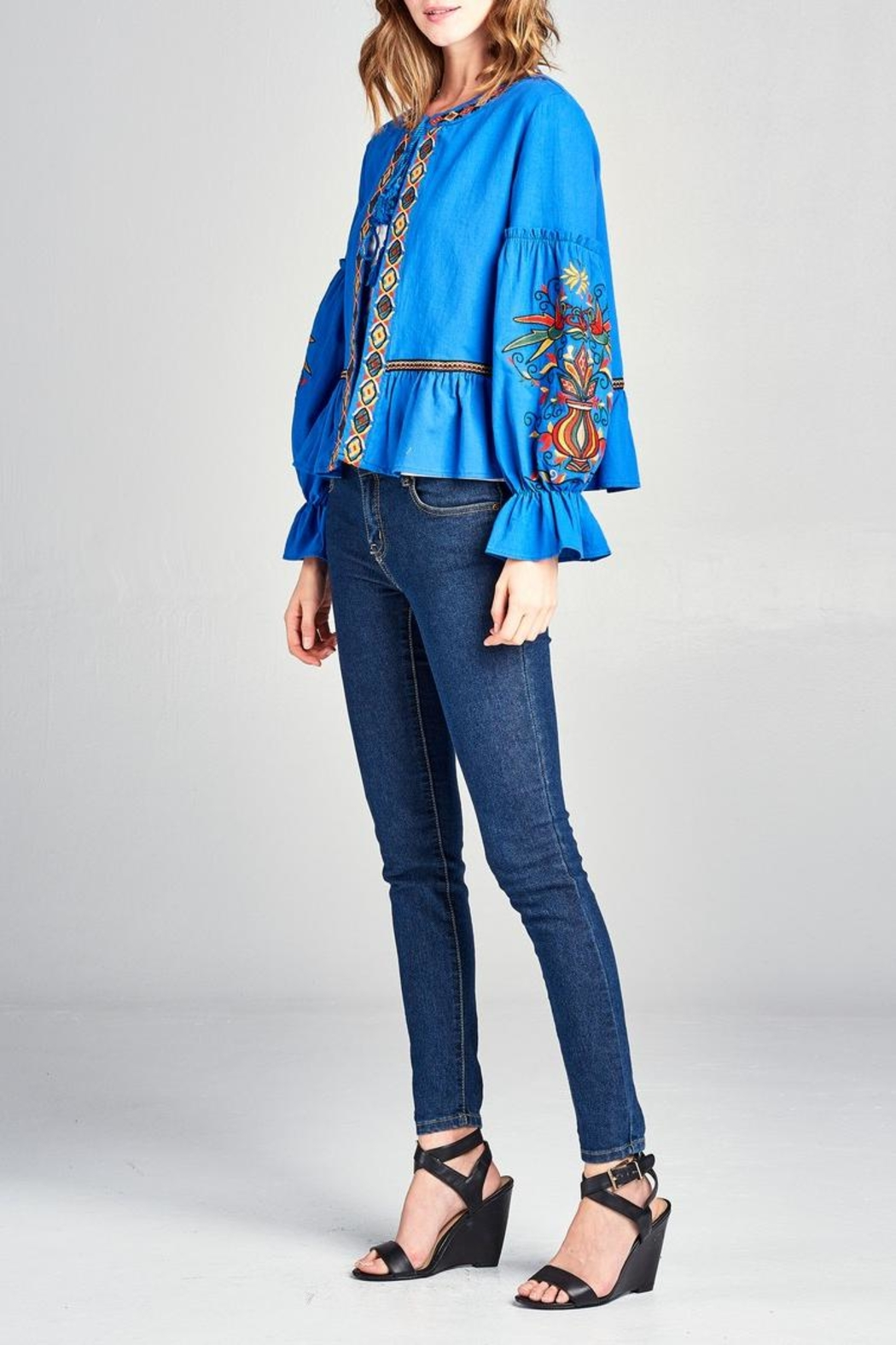 Velzera Embroidered Swing Jacket - Front Full Image