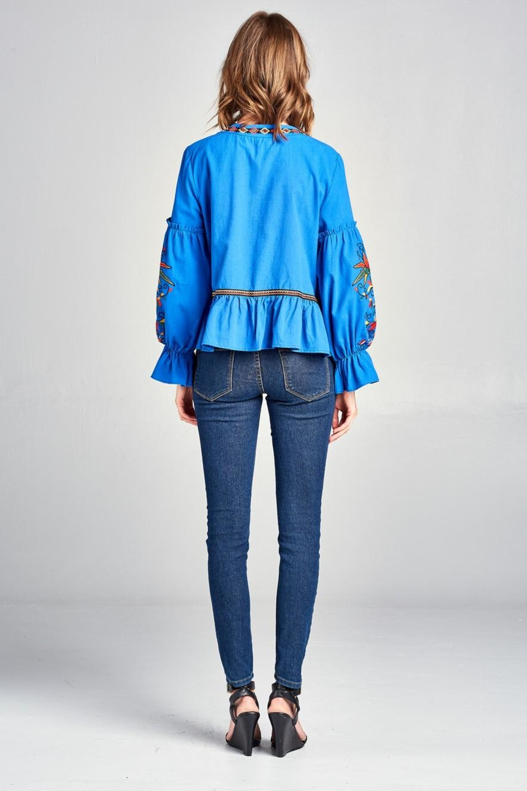Velzera Embroidered Swing Jacket - Back Cropped Image