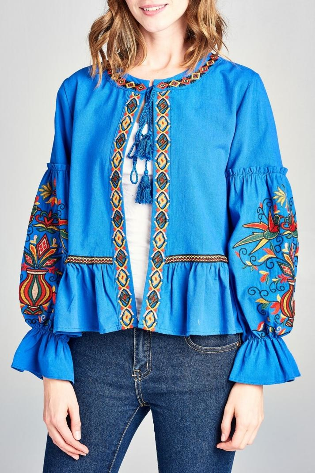 Velzera Embroidered Swing Jacket - Side Cropped Image