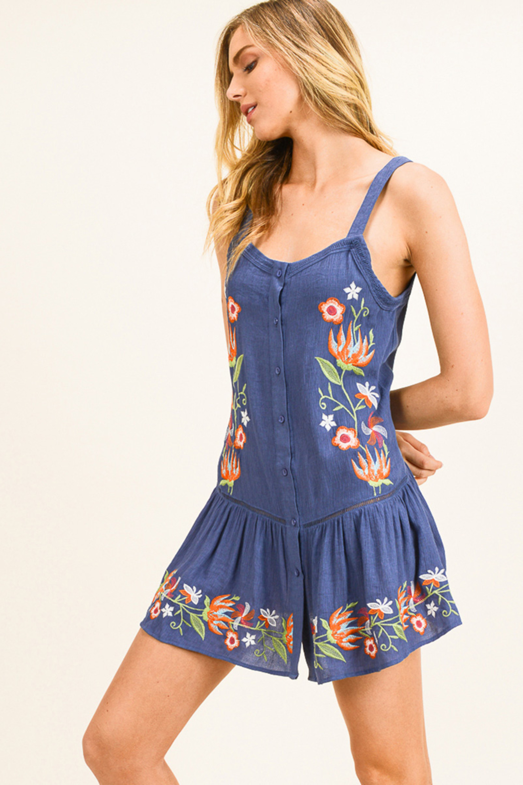 MONTREZ Embroidered Swing Mini Sundress - Front Cropped Image