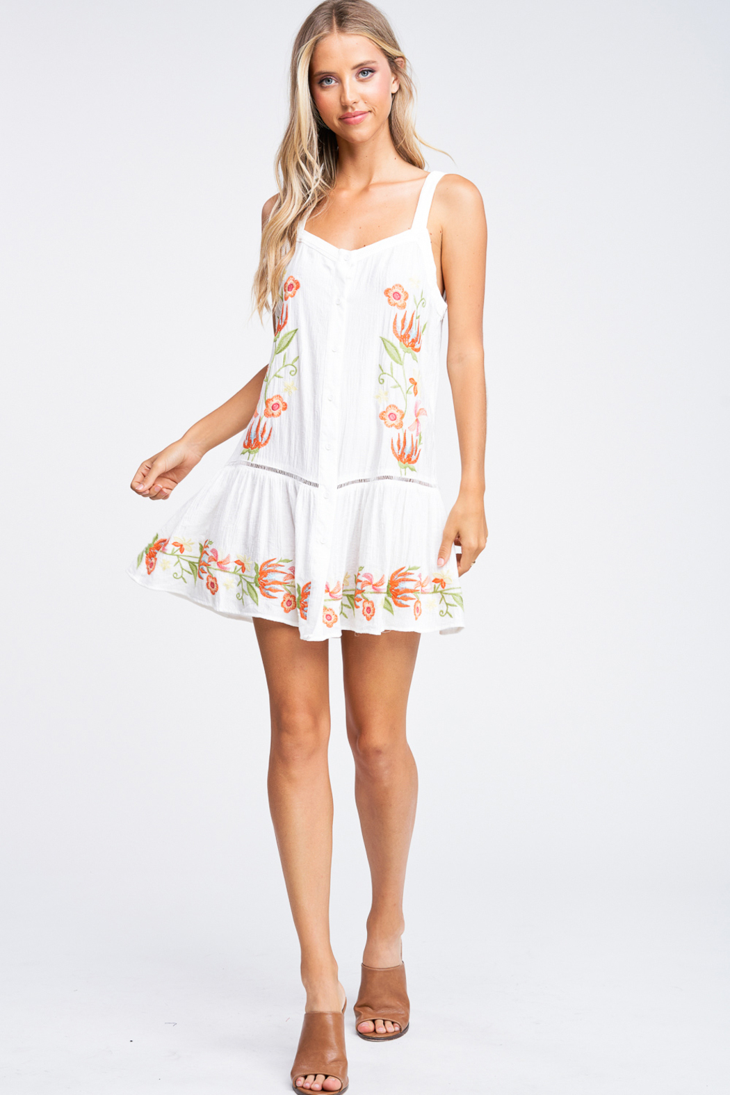 MONTREZ Embroidered Swing Mini Sundress - Side Cropped Image