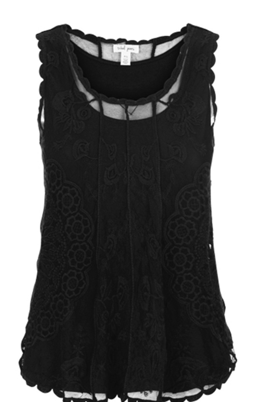 Tribal Jeans Embroidered Swing Tank in Black - Main Image