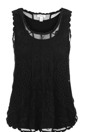 Tribal Jeans Embroidered Swing Tank in Black - Front cropped