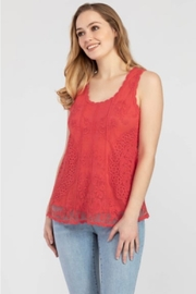 Tribal  Embroidered Swing Tank in Strawberry - Product Mini Image