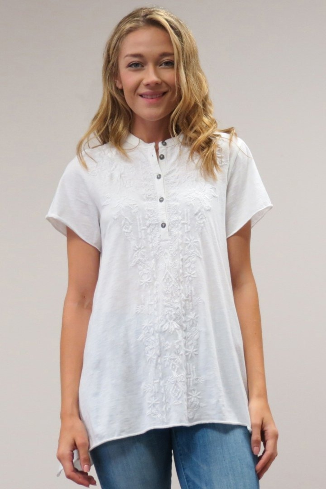Caite Embroidered Swing Top - Side Cropped Image