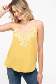blu pepper  Embroidered Tank With Adjustable Straps - Front cropped