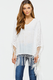 MONTREZ EMBROIDERED TASSEL FRINGE TRIM PONCHO - Product Mini Image