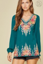 Savana Jane Embroidered Teal Beauty - Front cropped