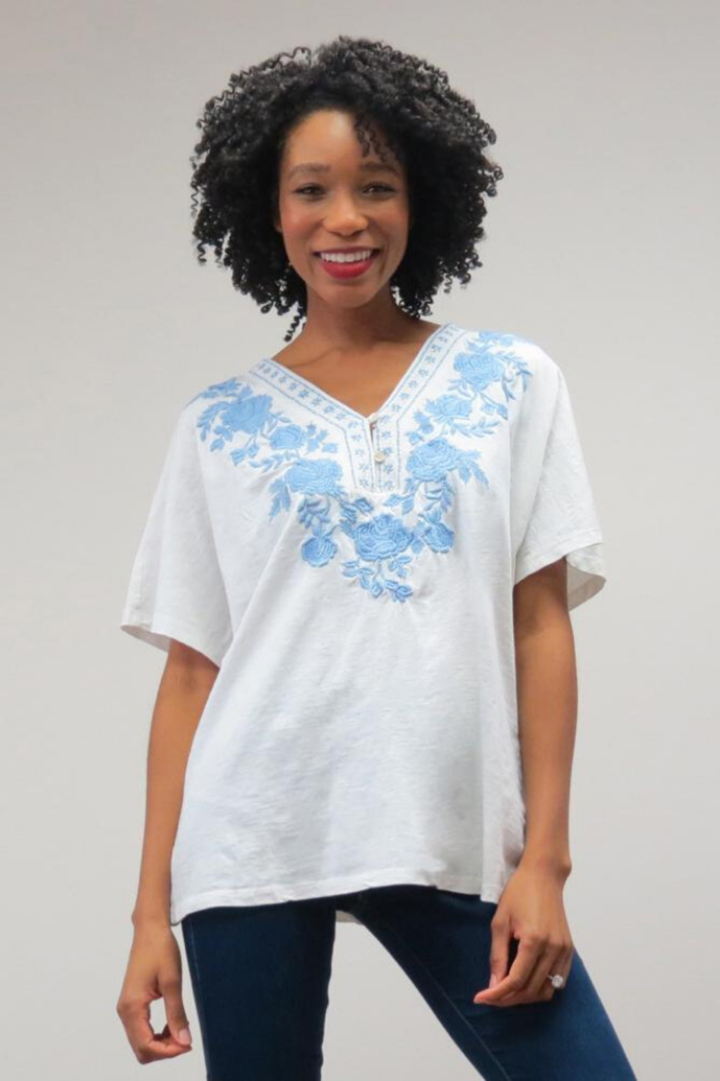 Caite Two-Tone Embroidered Tee - Front Cropped Image