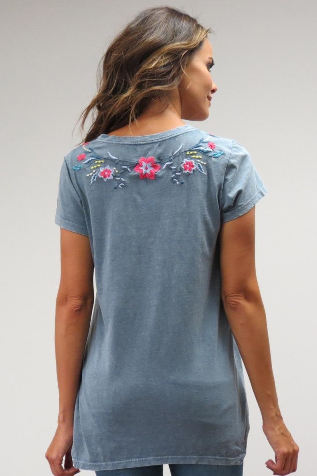 Caite Embroidered Tee - Front Full Image