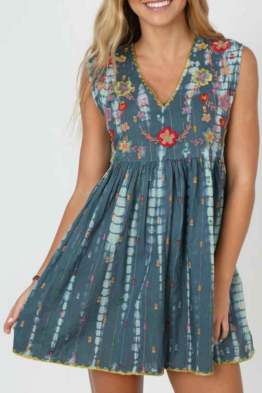Natural Life Embroidered Tie-Dye Dress - Main Image