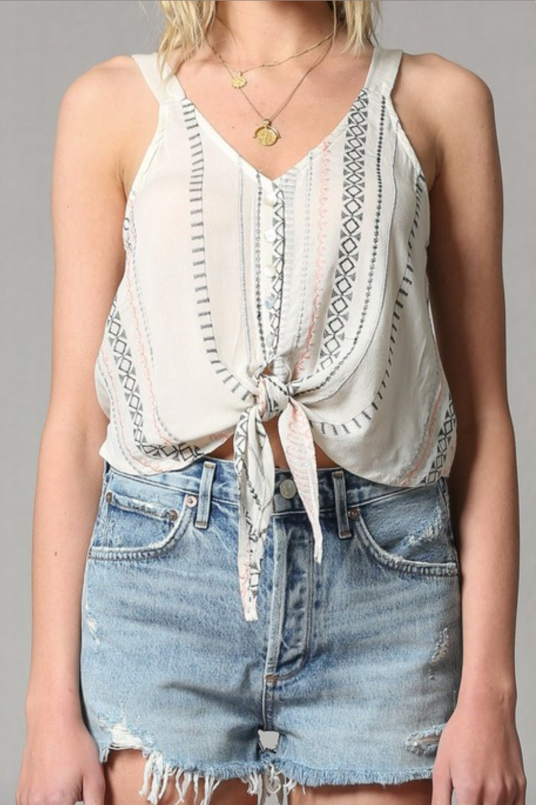 By Together Embroidered Tie Front Cami - Back Cropped Image