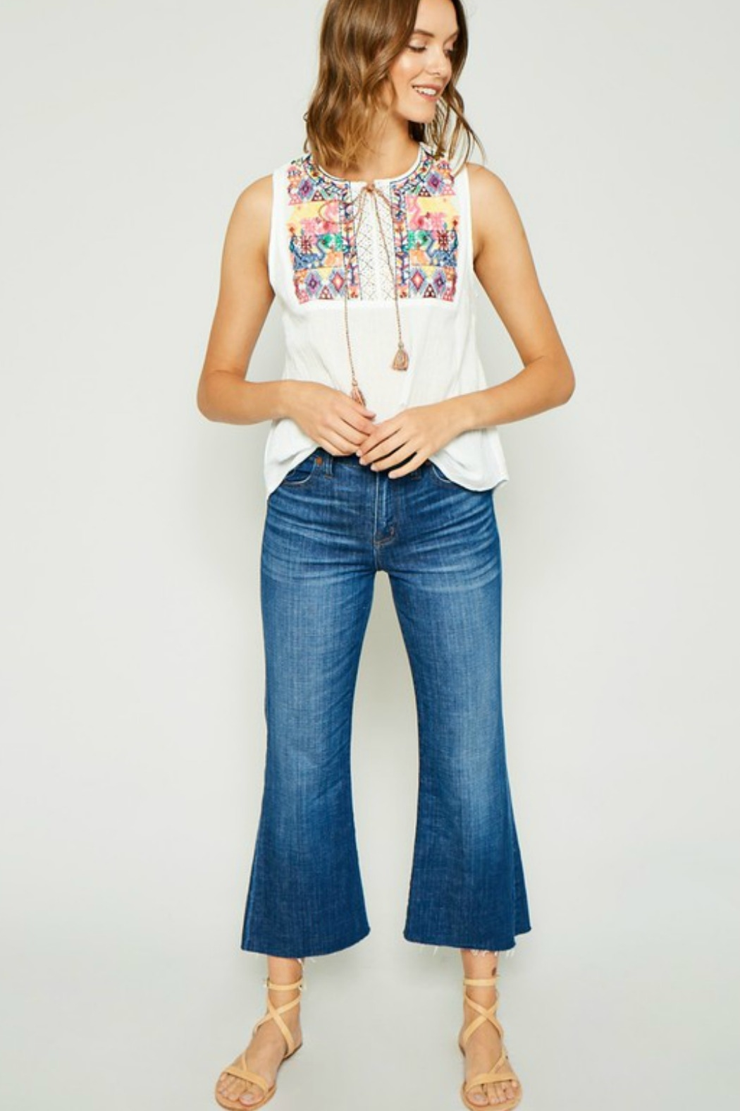 Hayden Embroidered Tie-Front Tassel Top - Front Cropped Image