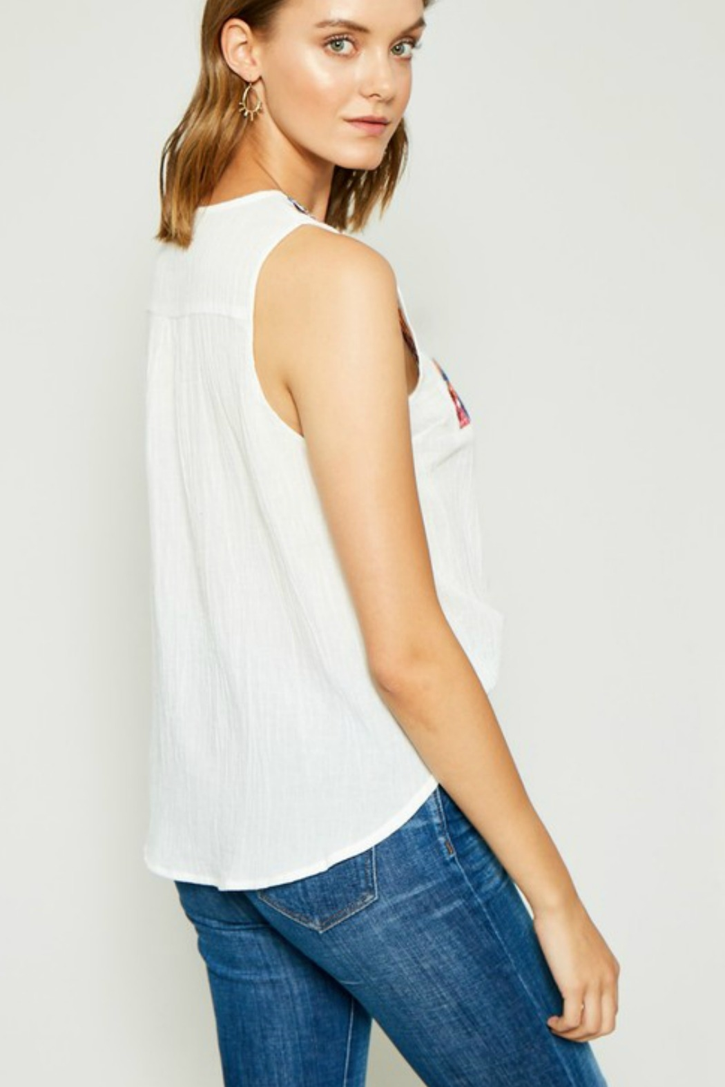 Hayden Embroidered Tie-Front Tassel Top - Side Cropped Image