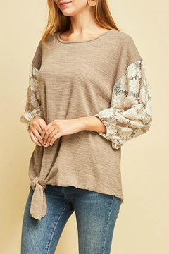 Shoptiques Product: Embroidered Tie-Front Top