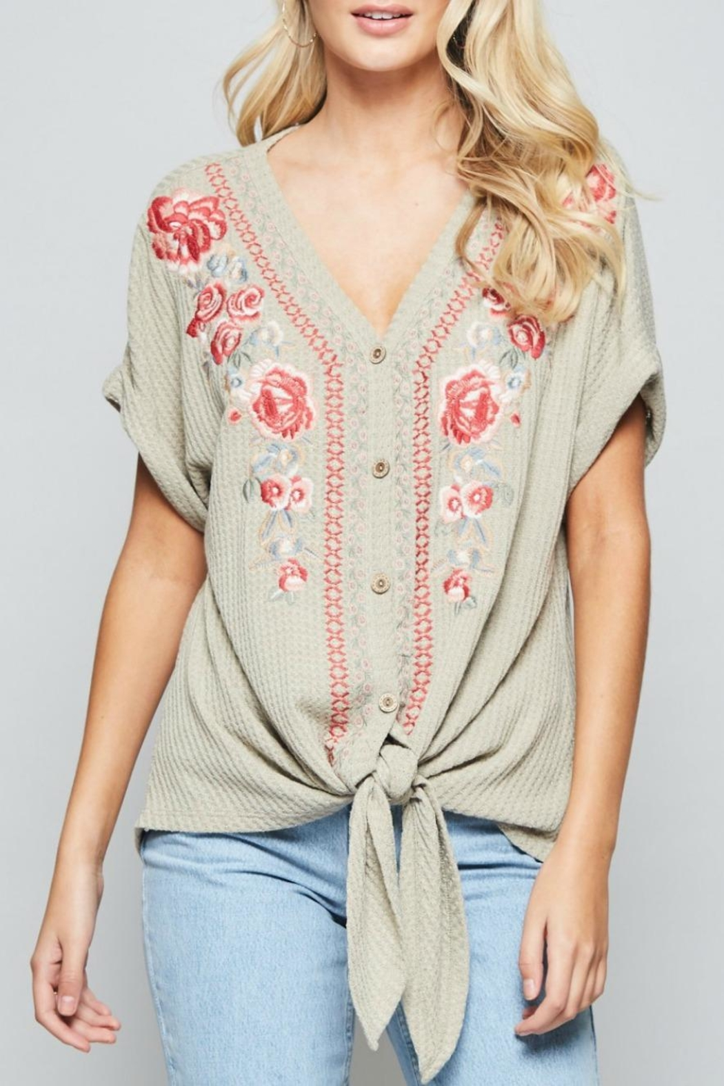 Andree by Unit Embroidered Tie-Front Tunic - Front Cropped Image