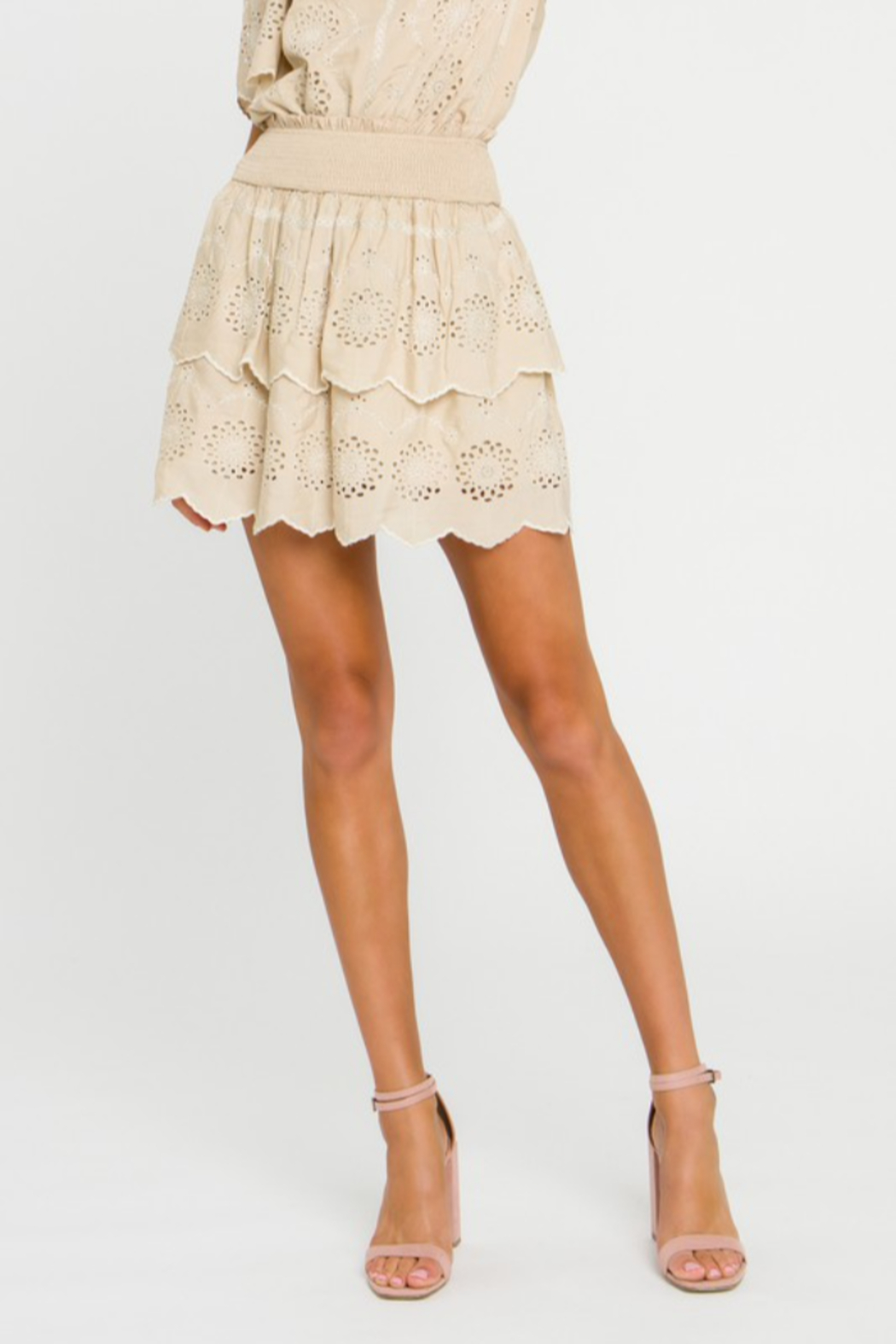 Endless Rose Embroidered Tiered Mini Skirt - Main Image