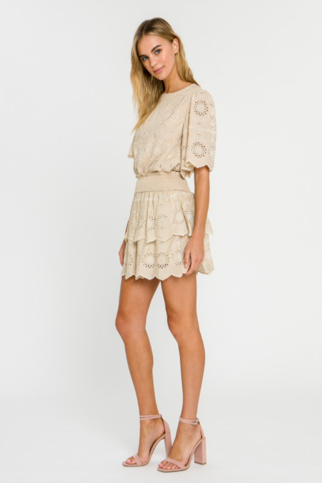 Endless Rose Embroidered Tiered Mini Skirt - Side Cropped Image