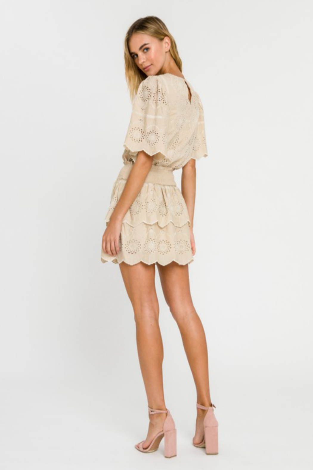 Endless Rose Embroidered Tiered Mini Skirt - Back Cropped Image