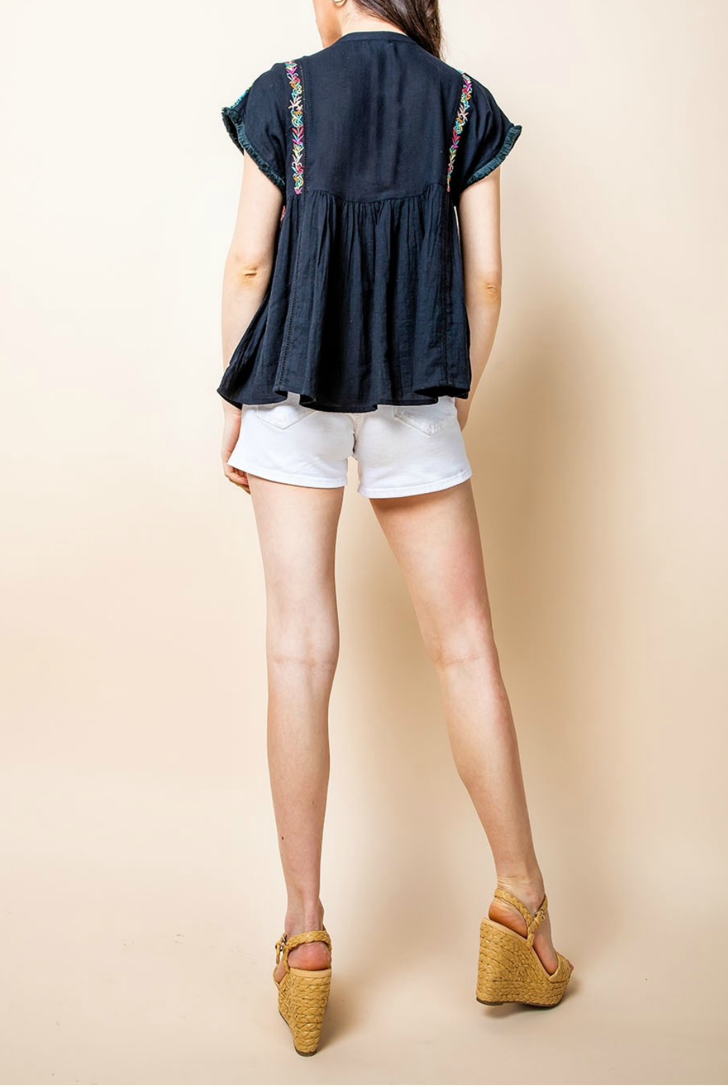 Thml Embroidered Top With Tassel - Front Full Image