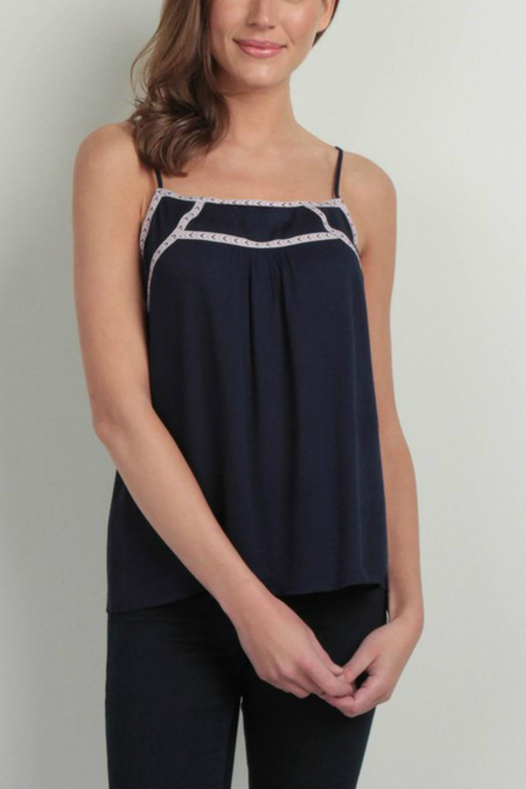 Skies Are Blue Embroidered Trim Top - Main Image