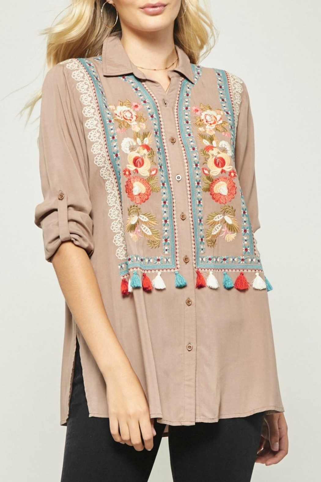 Andree by Unit Embroidered Tunic Blouse - Main Image