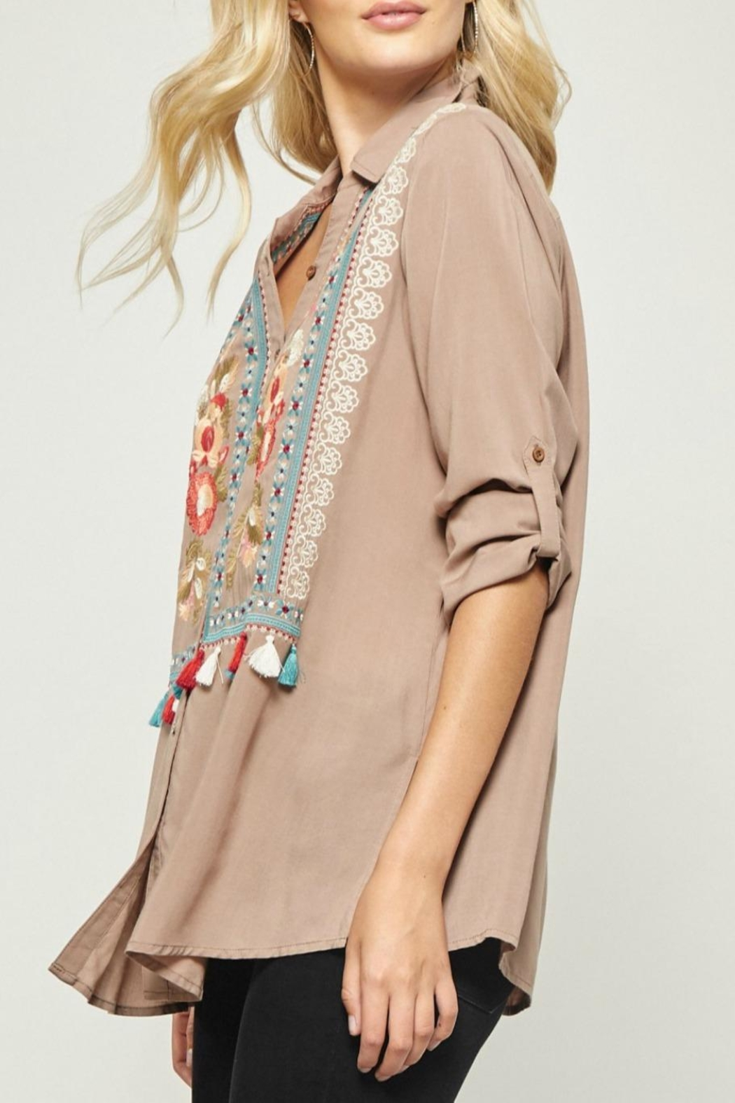 Andree by Unit Embroidered Tunic Blouse - Front Full Image