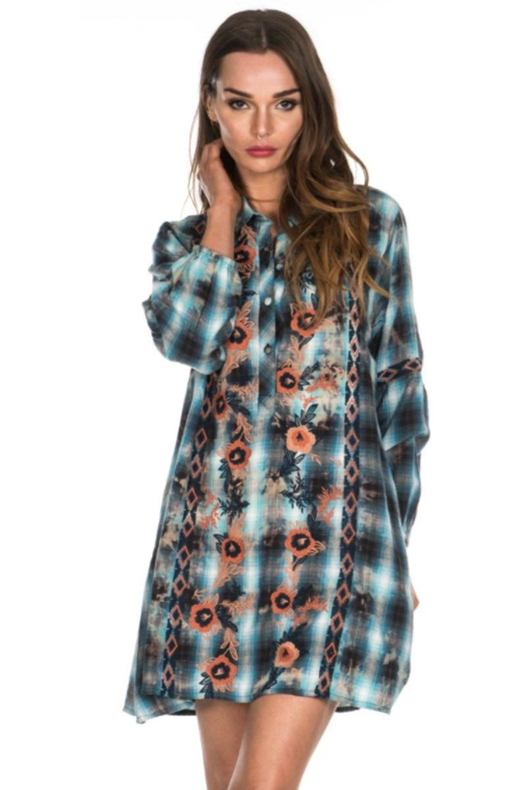 Tolani Embroidered Tunic Dress - Front Cropped Image