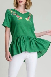 Modern Emporium Embroidered V-Neck Peplum - Product Mini Image