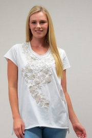 Caite Embroidered V-Neck Tee - Product Mini Image