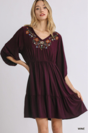 umgee  Embroidered V-Neck Tiered Babydoll Dress - Product Mini Image