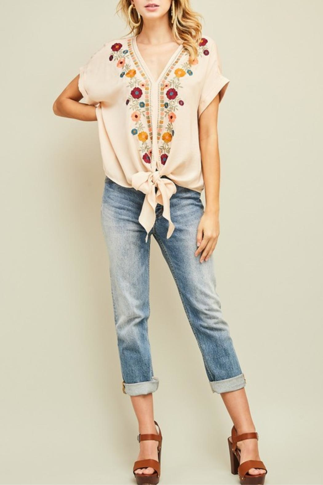 Entro Embroidered v-Neck Top - Main Image